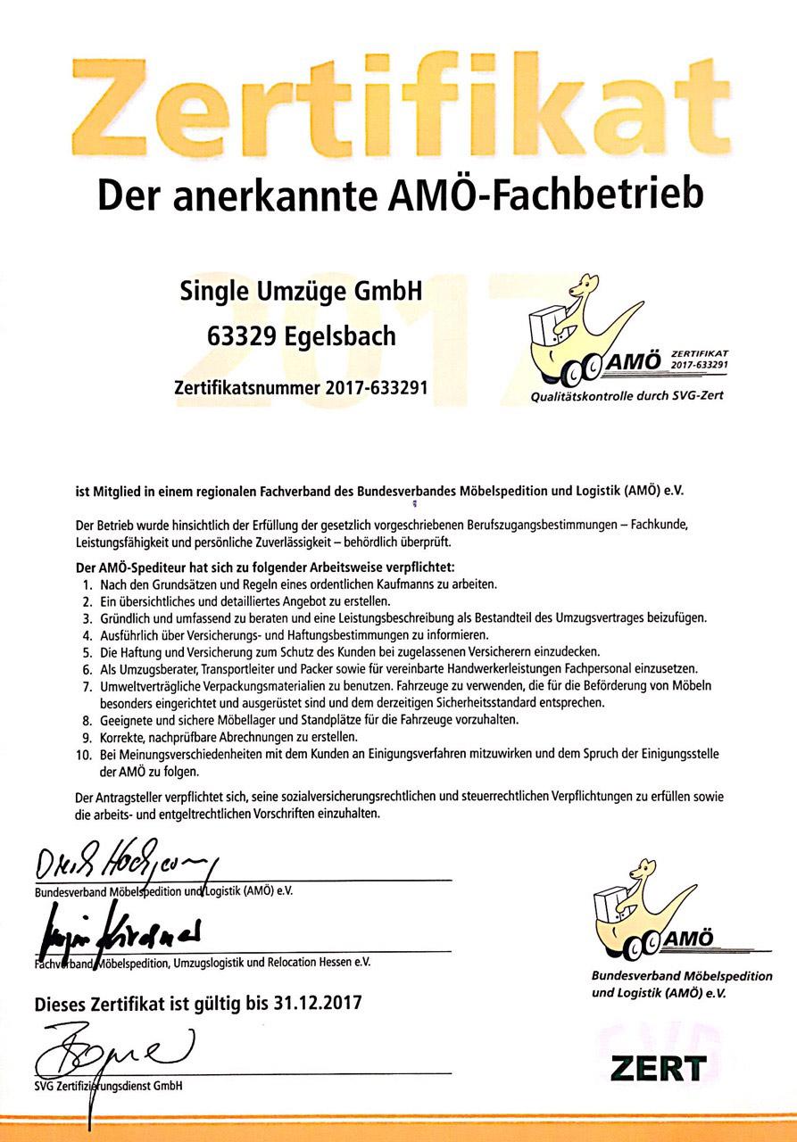 Umzugsfirma-Zertifikat